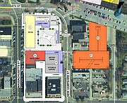 A map of the corner of Sixth and Massachusetts streets shows first-floor plans for redevelopment of the site of the former Journal-World production facility.