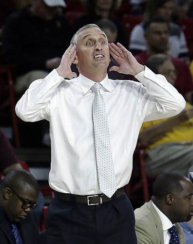 Arizona State head coach Bobby Hurley reacts to a foul call in the first half during an NCAA college basketball game against San Francisco, Saturday, Dec 2, 2017, in Tempe, Ariz.