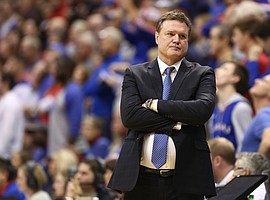 Kansas head coach Bill Self shows his frustration during the second half, Sunday, Dec. 10, 2017 at Allen Fieldhouse.
