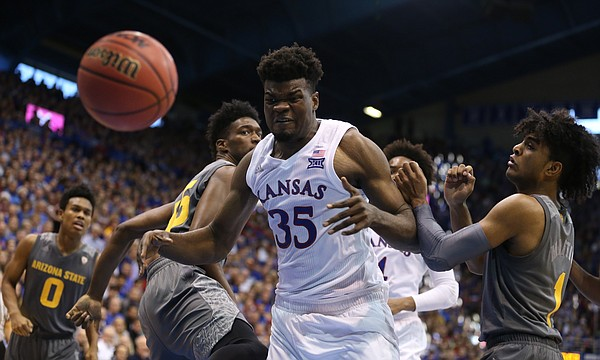 Kansas center Udoka Azubuike (35) loses the ball out of bounds during the second half, Sunday, Dec. 10, 2017 at Allen Fieldhouse.