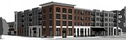 Pictured is a rendering of the northwest side of a proposed downtown grocery store at 700 New Hampshire St.