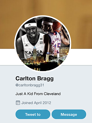Former KU forward Carlton Bragg's Twitter profile as of Sunday, Dec. 10, 2017.