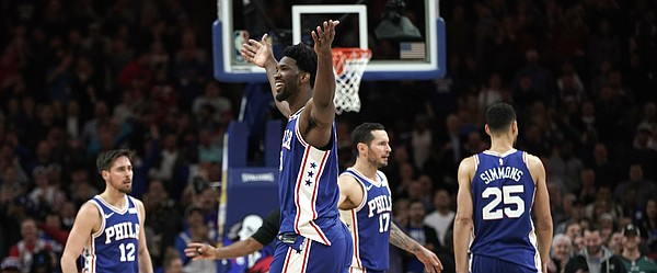 Philadelphia 76ers' Joel Embiid in action during an NBA basketball game against the Utah Jazz, Monday, Nov. 20, 2017, in Philadelphia. (AP Photo/Matt Slocum)