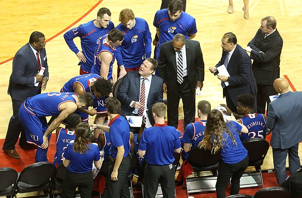 Kansas head coach Bill Self has words for Mitch Lightfoot and the Jayhawks during a timeout in the first half, Saturday, Dec. 16, 2017 at Pinnacle Bank Arena in Lincoln, Nebraska.