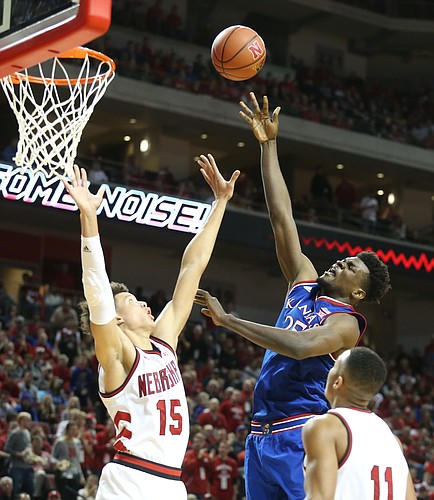 Kansas center Udoka Azubuike (35) puts a shot over Nebraska forward Isaiah Roby (15) during the second half, Saturday, Dec. 16, 2017 at Pinnacle Bank Arena in Lincoln, Nebraska.