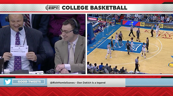 "ESPN announcer Dan Dakich reads ""not so mean tweets"" about himself during the broadcast of KU's win over Omaha. (Screenshot via WatchESPN.com)"