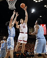Stanford forward Reid Travis (22) shoots against North Carolina during the second half of an NCAA college basketball game Monday, Nov. 20, 2017, in Stanford, Calif.
