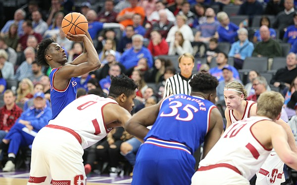 Kansas guard Marcus Garrett puts up a free throw during the second half against Stanford, Thursday, Dec. 21, 2017 at Golden 1 Center in Sacramento, California.