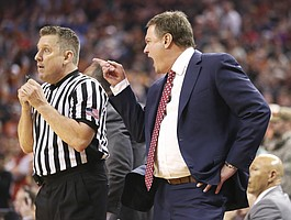 Kansas head coach Bill Self lays into an official during the second half on Friday, Dec. 29, 2017 at Frank Erwin Center in Austin, Texas.