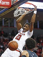 Texas Tech's Jarrett Culver (23) tries to lay up the ball during the second half of an NCAA college basketball game against Abilene Christian, Friday, Dec. 22, 2017, in Lubbock, Texas. (AP Photo/Brad Tollefson)