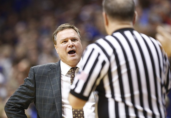 Kansas head coach Bill Self has words with an official during the second half, Tuesday, Jan. 2, 2018 at Allen Fieldhouse.
