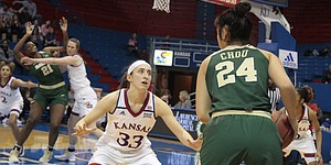 Kansas junior Kylee Kopatich defends Baylor guard Natalie Chou on the perimeter while KU freshman Bailey Helgren fronts BU center Kalani Brown in the paint during the first half of the Jayhawks' 83-48 loss to the Bears on Saturday at Allen Fieldhouse.