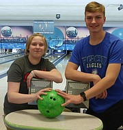 Free State senior Sapphie Knight, left, and junior Bayn Schrader highlight the school's bowling team heading into the 2018 season.