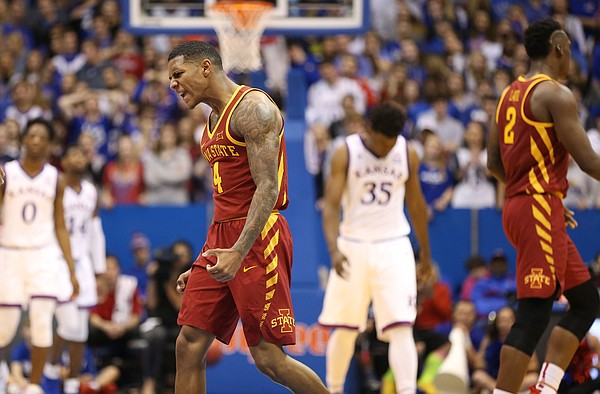 Iowa State guard Donovan Jackson (4) celebrates a three pointer during the second half, Tuesday, Jan. 9, 2018 at Allen Fieldhouse.