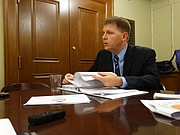 State Budget Director Shawn Sullivan answers reporters questions Wednesday, Jan. 10, 2018, during a briefing on Gov. Sam Brownback's plan to phase in a $600 million per-year increase in K-12 education funding over five years