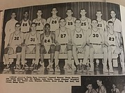 Leonard Monroe (no. 26) is pictured here with teammates from the 1950 Liberty Memorial High School (now known as Lawrence High School) basketball team.