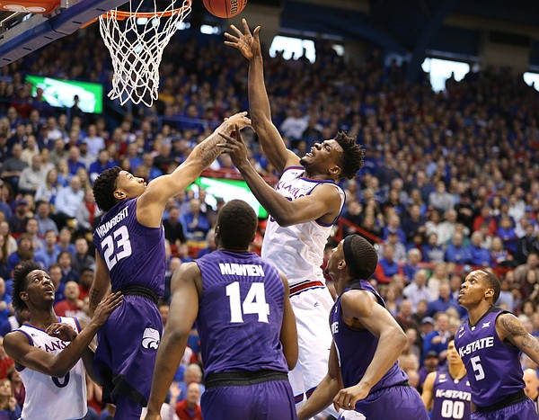 Kansas center Udoka Azubuike (35) puts up a shot against Kansas State guard Amaad Wainright (23) during the first half, Saturday, Jan. 13, 2018 at Allen Fieldhouse.