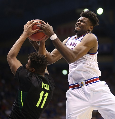 Kansas center Udoka Azubuike (35) fights for a rebound with Baylor forward Mark Vital (11) during the second half, Saturday, Jan. 20, 2018 at Allen Fieldhouse.