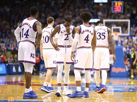 The Jayhawks try to pull it together during the second half, Saturday, Jan. 20, 2018 at Allen Fieldhouse.