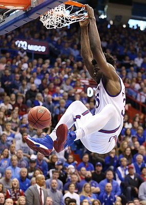 Kansas center Udoka Azubuike (35) delivers a dunk during the first half, Saturday, Jan. 27, 2018 at Allen Fieldhouse.