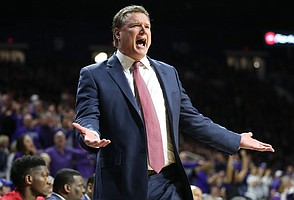 Kansas head coach Bill Self looks for a call from an official during the second half, Monday, Jan. 29, 2018 at Bramlage Coliseum in Manhattan, Kan.