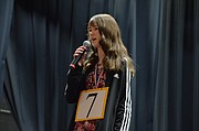 Rebecca Ballast, a student at Veritas Christian School, competes in the Douglas County Spelling Bee on Saturday, Feb. 3, 2018 at Southwest Middle School.