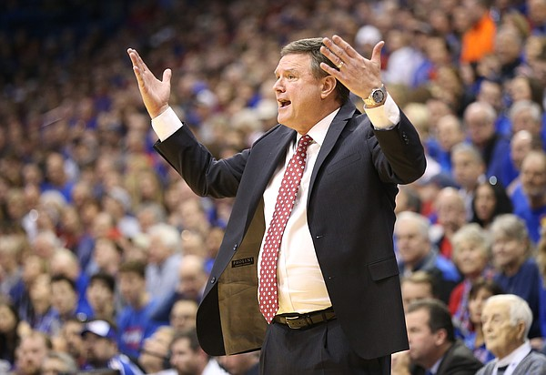 Kansas head coach Bill Self reacts to a call during the second half, Saturday, Feb. 3, 2018 at Allen Fieldhouse.