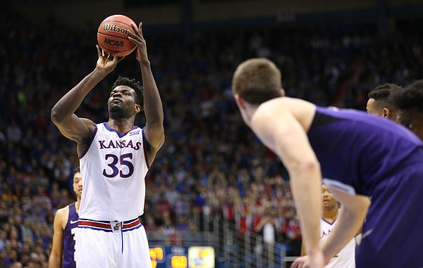 Kansas center Udoka Azubuike (35) puts up a free throw late in the second half on Tuesday, Feb. 6, 2018 at Allen Fieldhouse.