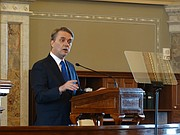 Gov. Jeff Colyer addresses a joint session of the Kansas Legislature on Wednesday, Feb. 7, 2018, one week to the day after being sworn in as the state's 47th governor.