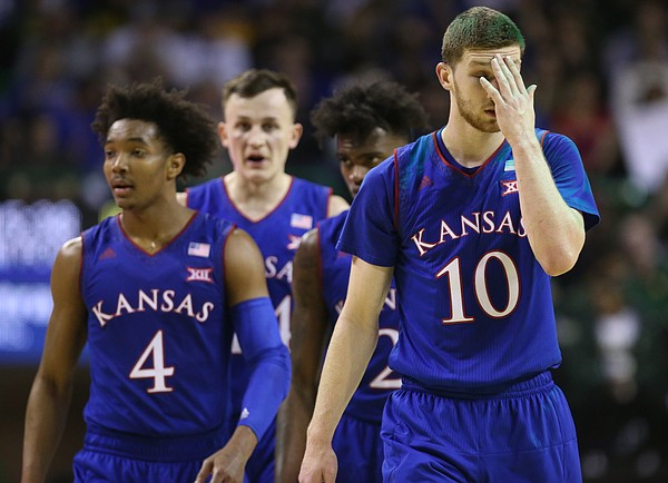 Kansas guard Sviatoslav Mykhailiuk (10) and the Jayhawks come back into the game after a timeout late in  the second half, Saturday, Feb. 11, 2018 at Ferrell Center in Waco, Texas.