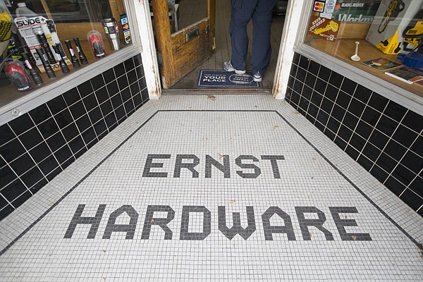 A customer enters Ernst and Son Hardware, 826 Massachusetts St., on Thursday, Feb. 15, 2018.