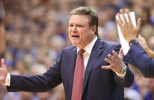 Kansas head coach Bill Self pleads for a call during the second half, Saturday, Feb. 17, 2018 at Allen Fieldhouse.