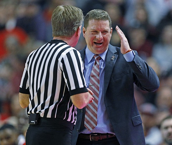 Texas Tech coach Chris Beard argues a call with the referee during the second half of an NCAA college basketball game against West Virginia, Saturday, Jan. 13, 2018, in Lubbock, Texas. (AP Photo/Brad Tollefson)