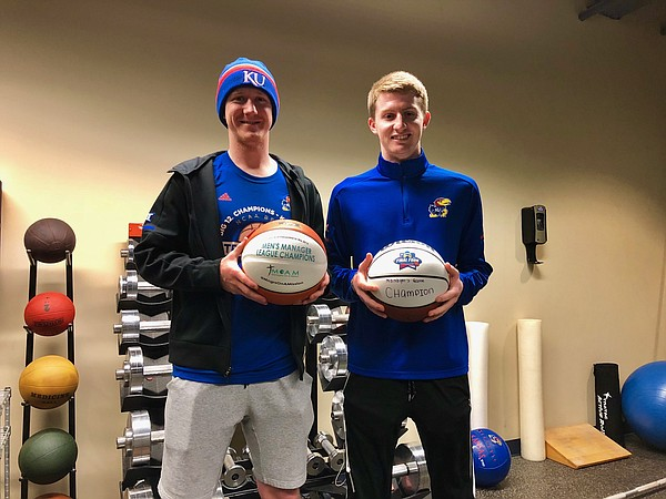 Kansas basketball senior managers Collin Cook, left, and Brayden Carroll, will work their final game in Allen Fieldhouse tonight when the Jayhawks take on Texas at 8 p.m. on ESPN.