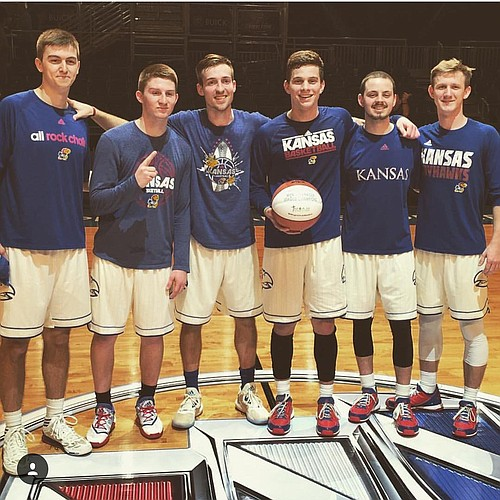 KU's 2016 national championship squad of the first ever manager games. From left to right are: Left to right: Justin Bengston, Brayden Carroll, Chip Kueffer, Tim Skoch, Jay Turnipseed and Collin Cook. Along with KU seniors Devonte' Graham, Svi Mykhailiuk and Clay Young, Carroll and Cook will say goodbye to Allen Fieldhouse tonight, albeit a little more quietly than that trio, at KU's annual Senior Night.