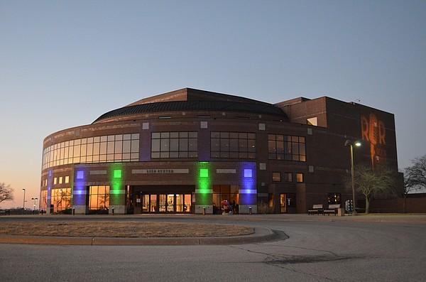 The Lied Center of Kansas displays blue and green lights in honor of Eating Disorder Awareness Week on Friday, March 2, 2018.