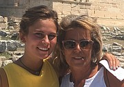 Zoe Prather and her mother Tina Spanos are shown on vacation in Greece in the summer of 2017.