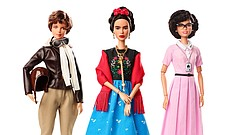 This product image released by Barbie shows dolls in the image of pilot Amelia Earhart, left, Mexican artist Frida Khalo and mathematician Katherine Johnson, part of the Inspiring Women doll line series being launched ahead of International Women's Day.