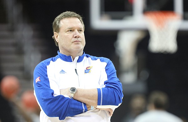 Kansas head coach Bill Self watches over during a shoot around on Wednesday, March 7, 2018 at Sprint Center in Kansas City, Mo.
