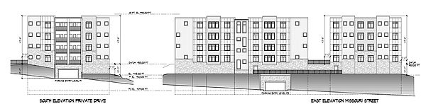 Renderings of the proposed Hawker II apartments at 10th and Missouri streets. Courtesy: City of Lawrence/Paul Werner Architects