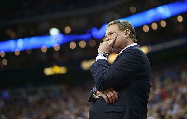 Kansas head coach Bill Self shows his frustration with his team after a string of Kansas State buckets during the second half, Friday, March 9, 2018 at Sprint Center in Kansas City, Mo.
