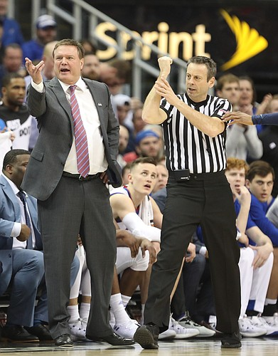 Kansas head coach Bill Self disputes a call during the first half, Saturday, March 10, 2018 at Sprint Center in Kansas City, Mo.
