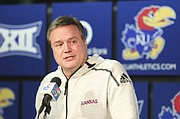 Kansas head coach Bill Self talks with media members following the NCAA tournament selection show on Sunday, March 11, 2018 at Allen Fieldhouse. The Jayhawks will take on Penn in the first round, Thursday, in Wichita.