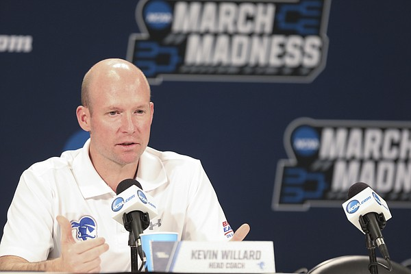 Seton Hall head coach Kevin Willard talks with media members during a press conference on Friday, March 16, 2018 at Intrust Bank Arena in Wichita, Kan.