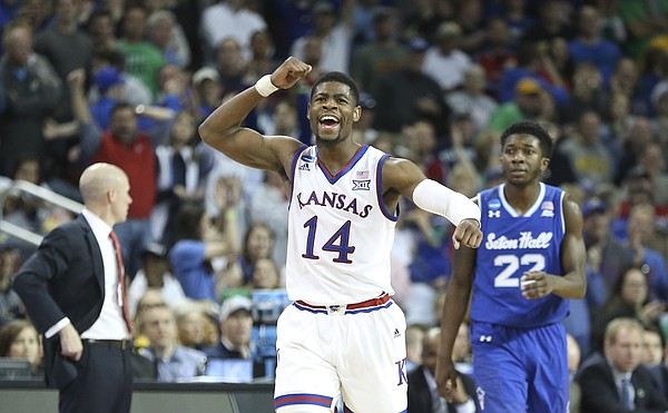 2364ab5a755 Kansas guard Malik Newman (14) pumps his fist as the Jayhawks lock up the