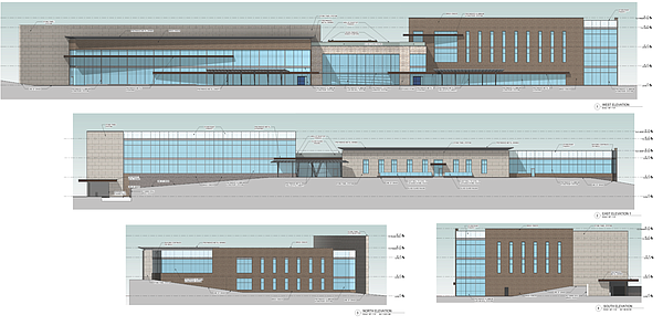 LMH has released preliminary exterior renderings for it proposed $93 million west Lawrence outpatient center. The top rendering is of the west facade of the building that would face the South Lawrence Trafficway. The second rendering is the eastern facade, while the smaller renderings show the north and south views.
