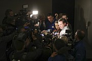 Kansas head coach Bill Self takes questions from media members upon the Jayhawks' arrival at the team hotel, Wednesday, March 21, 2018 in Omaha, Neb.