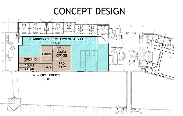 This February 2018 plan shows a concept for City of Lawrence operations at Riverfront Plaza, as prepared by TreanorHL Architects.