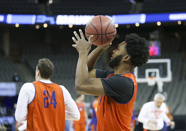 Clemson guard Gabe DeVoe (10) puts up a floater during practice on Thursday, March 22, 2018 at CenturyLink Center in Omaha, Neb.