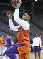 Clemson guard Shelton Mitchell (4) goes up to the bucket during practice on Thursday, March 22, 2018 at CenturyLink Center in Omaha, Neb.